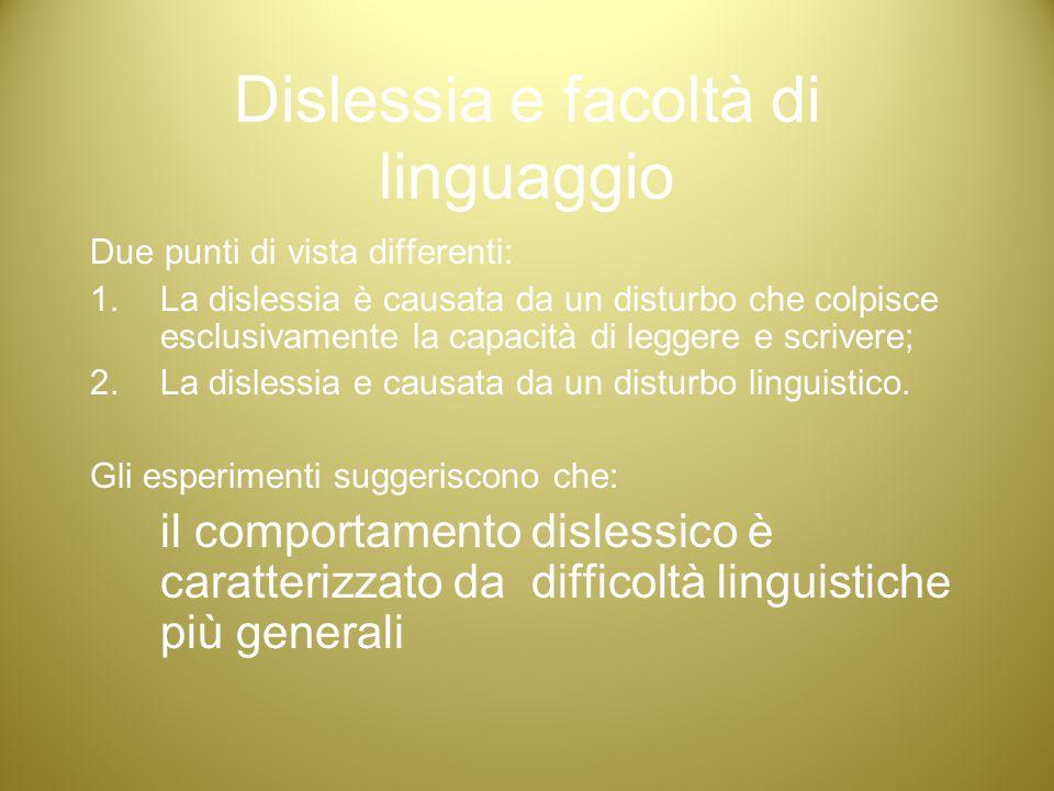 Dislessia e facoltà di linguaggio Due punti di vista differenti: 1.La dislessia è causata da un disturbo che colpisce esclusivamente la capacità di le