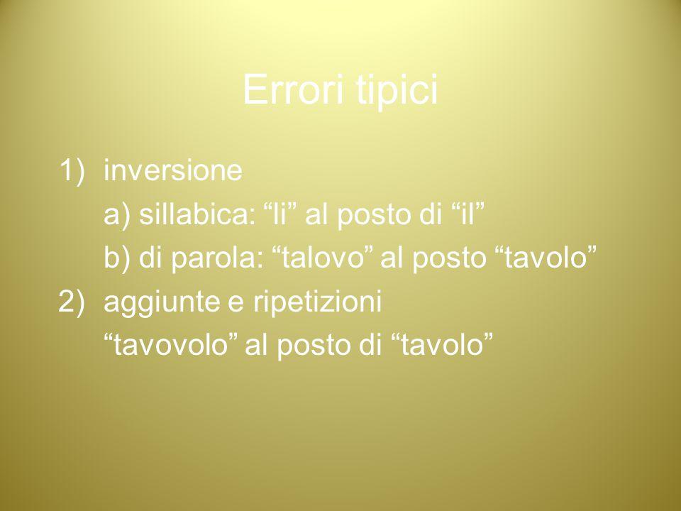 """Errori tipici 1)inversione a) sillabica: """"li"""" al posto di """"il"""" b) di parola: """"talovo"""" al posto """"tavolo"""" 2)aggiunte e ripetizioni """"tavovolo"""" al posto d"""