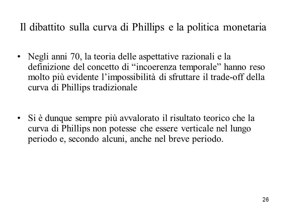 26 Il dibattito sulla curva di Phillips e la politica monetaria Negli anni 70, la teoria delle aspettative razionali e la definizione del concetto di
