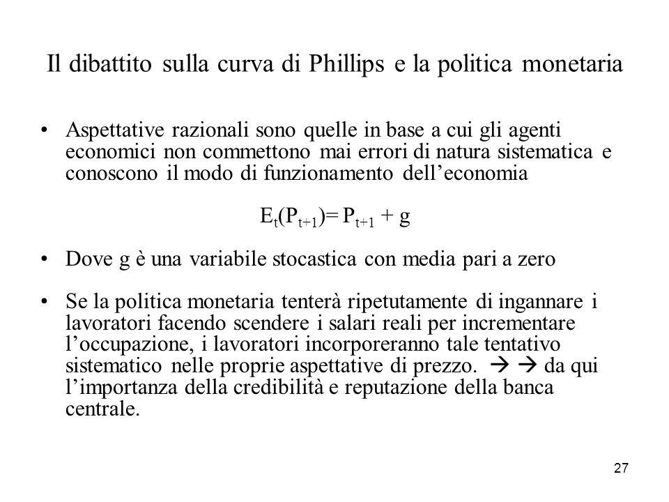 27 Il dibattito sulla curva di Phillips e la politica monetaria Aspettative razionali sono quelle in base a cui gli agenti economici non commettono ma