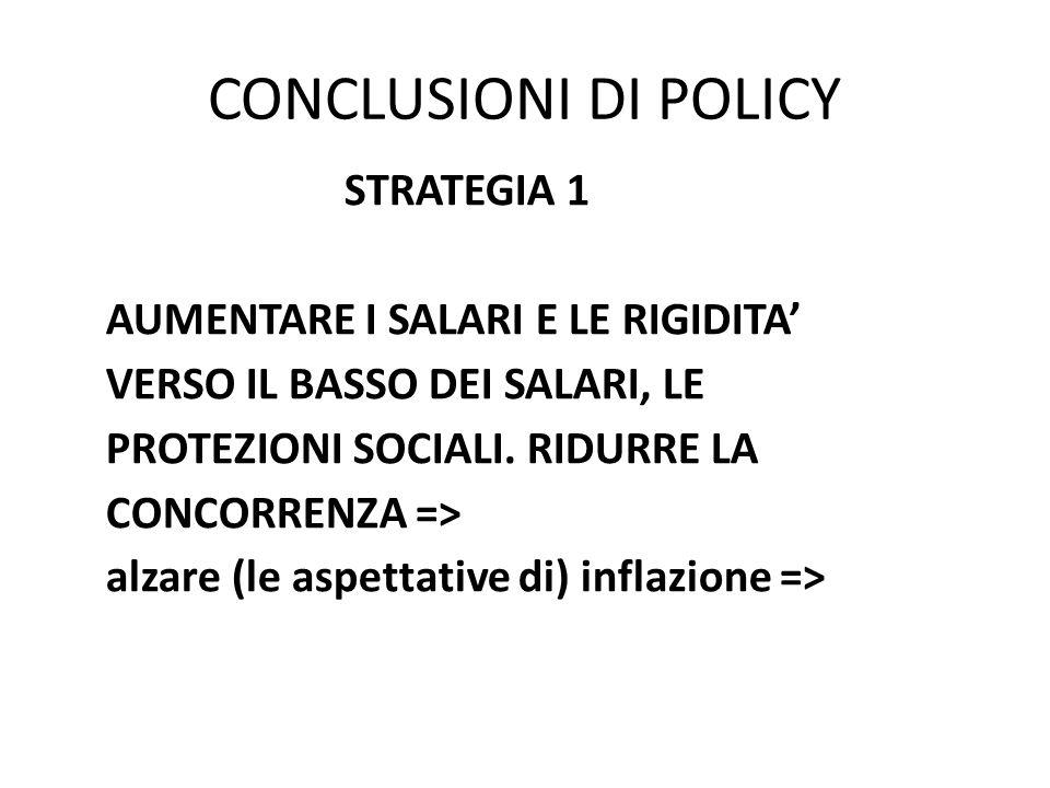 CONCLUSIONI DI POLICY STRATEGIA 1 AUMENTARE I SALARI E LE RIGIDITA' VERSO IL BASSO DEI SALARI, LE PROTEZIONI SOCIALI.