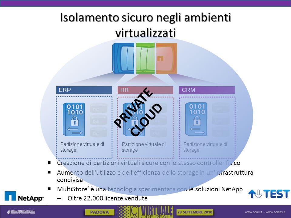  Creazione di partizioni virtuali sicure con lo stesso controller fisico  Aumento dell utilizzo e dell efficienza dello storage in un infrastruttura condivisa  MultiStore ® è una tecnologia sperimentata con le soluzioni NetApp – Oltre 22.000 licenze vendute Partizione virtuale di storage HR Partizione virtuale di storage CRM Dati Partizione virtuale di storage ERP Dati Isolamento sicuro negli ambienti virtualizzati PRIVATE CLOUD