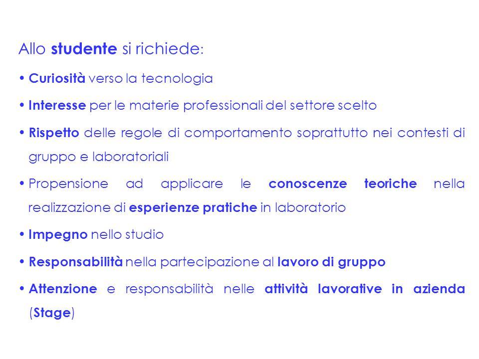 Allo studente si richiede : Curiosità verso la tecnologia Interesse per le materie professionali del settore scelto Rispetto delle regole di comportam