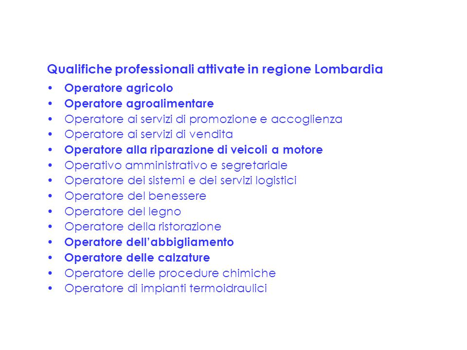 Qualifiche professionali attivate in regione Lombardia Operatore agricolo Operatore agroalimentare Operatore ai servizi di promozione e accoglienza Op