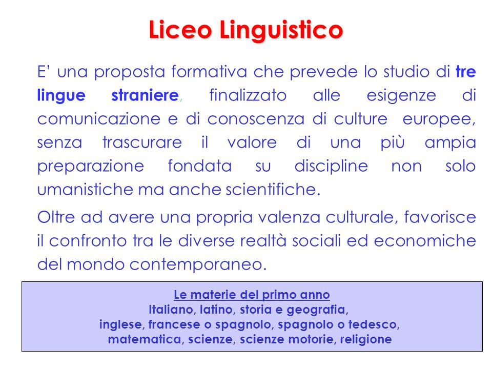 Liceo Linguistico E' una proposta formativa che prevede lo studio di tre lingue straniere, finalizzato alle esigenze di comunicazione e di conoscenza