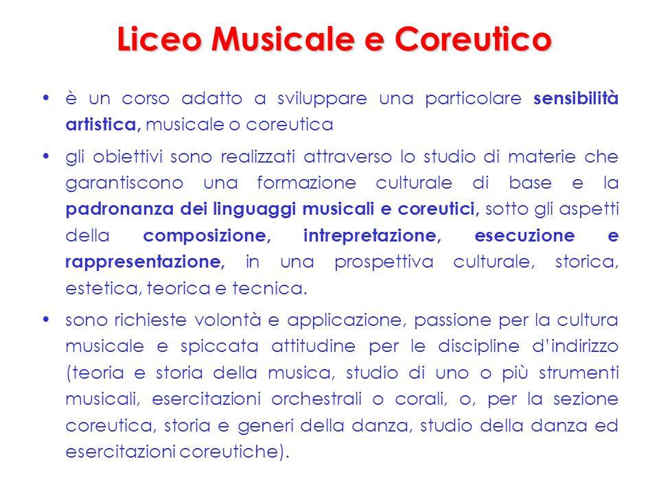 Liceo Musicale e Coreutico è un corso adatto a sviluppare una particolare sensibilità artistica, musicale o coreutica gli obiettivi sono realizzati at
