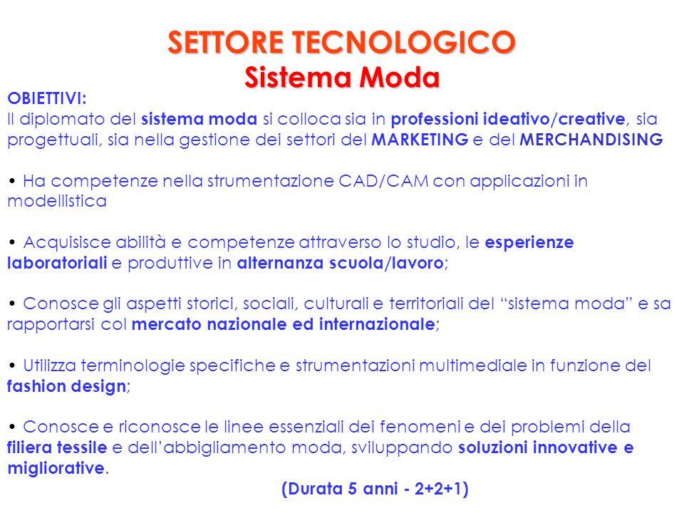 SETTORE TECNOLOGICO Sistema Moda OBIETTIVI: Il diplomato del sistema moda si colloca sia in professioni ideativo/creative, sia progettuali, sia nella