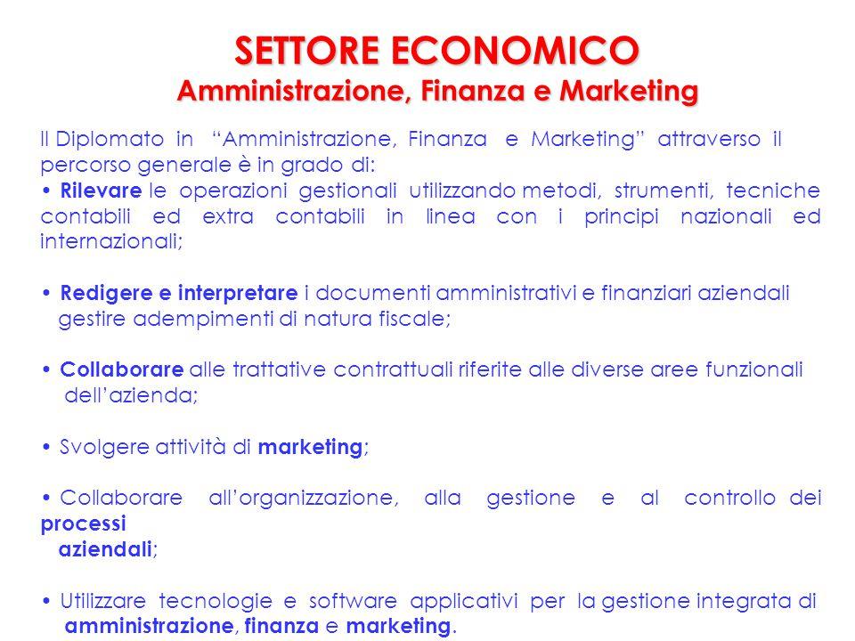 """Il Diplomato in """"Amministrazione, Finanza e Marketing"""" attraverso il percorso generale è in grado di: Rilevare le operazioni gestionali utilizzando me"""