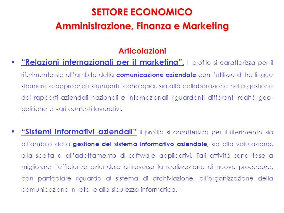 """SETTORE ECONOMICO Amministrazione, Finanza e Marketing SETTORE ECONOMICO Amministrazione, Finanza e Marketing Articolazioni """"Relazioni internazionali"""