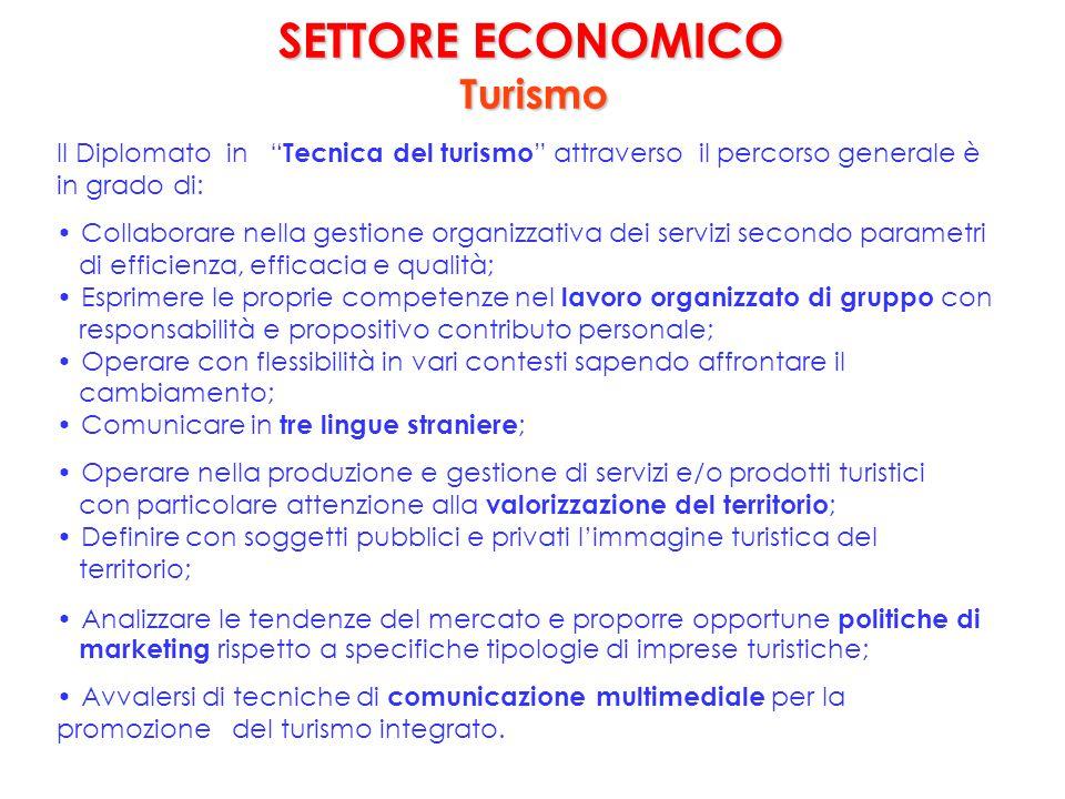 """SETTORE ECONOMICO SETTORE ECONOMICO Turismo Il Diplomato in """" Tecnica del turismo """" attraverso il percorso generale è in grado di: Collaborare nella g"""