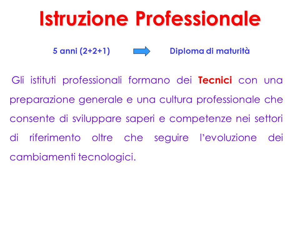 Istruzione Professionale 5 anni (2+2+1) Diploma di maturità Gli istituti professionali formano dei Tecnici con una preparazione generale e una cultura