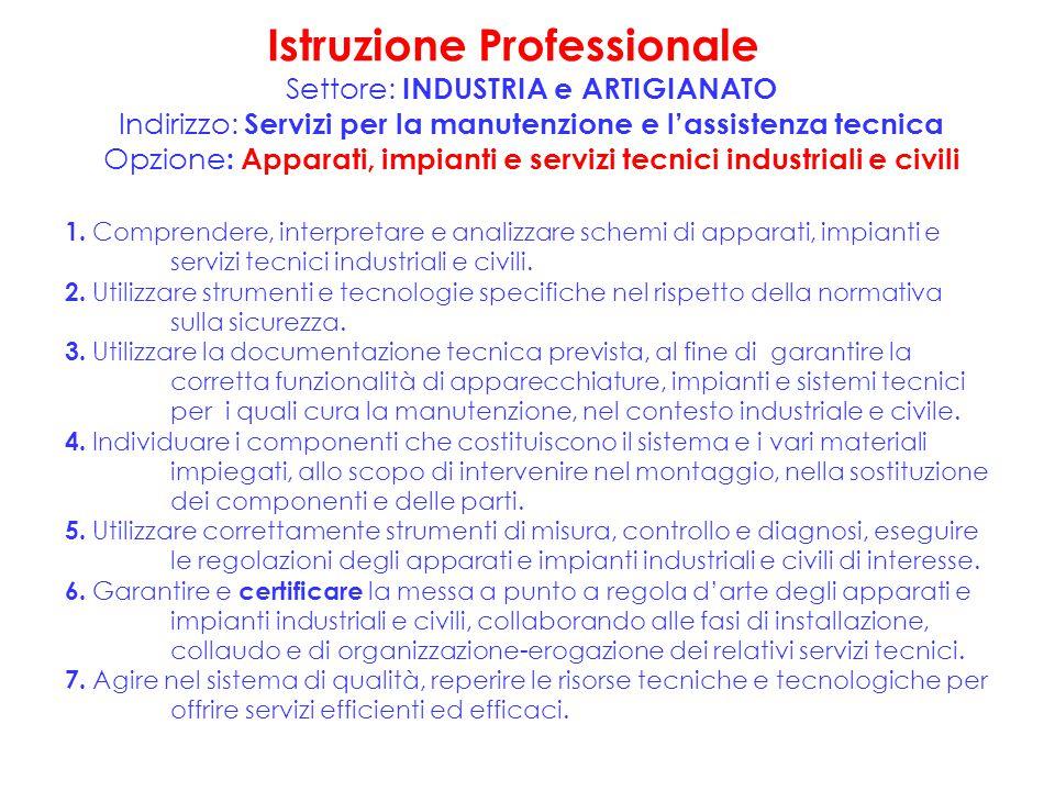 Istruzione Professionale Settore: INDUSTRIA e ARTIGIANATO Indirizzo: Servizi per la manutenzione e l'assistenza tecnica Opzione : Apparati, impianti e