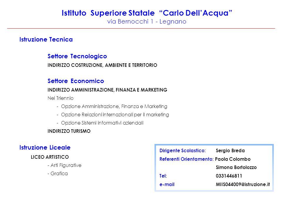 """Istituto Superiore Statale """"Carlo Dell'Acqua"""" via Bernocchi 1 - Legnano Istruzione Tecnica Settore Tecnologico INDIRIZZO COSTRUZIONE, AMBIENTE E TERRI"""