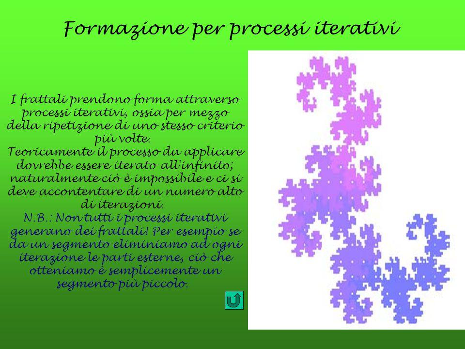 Formazione per processi iterativi I frattali prendono forma attraverso processi iterativi, ossia per mezzo della ripetizione di uno stesso criterio pi