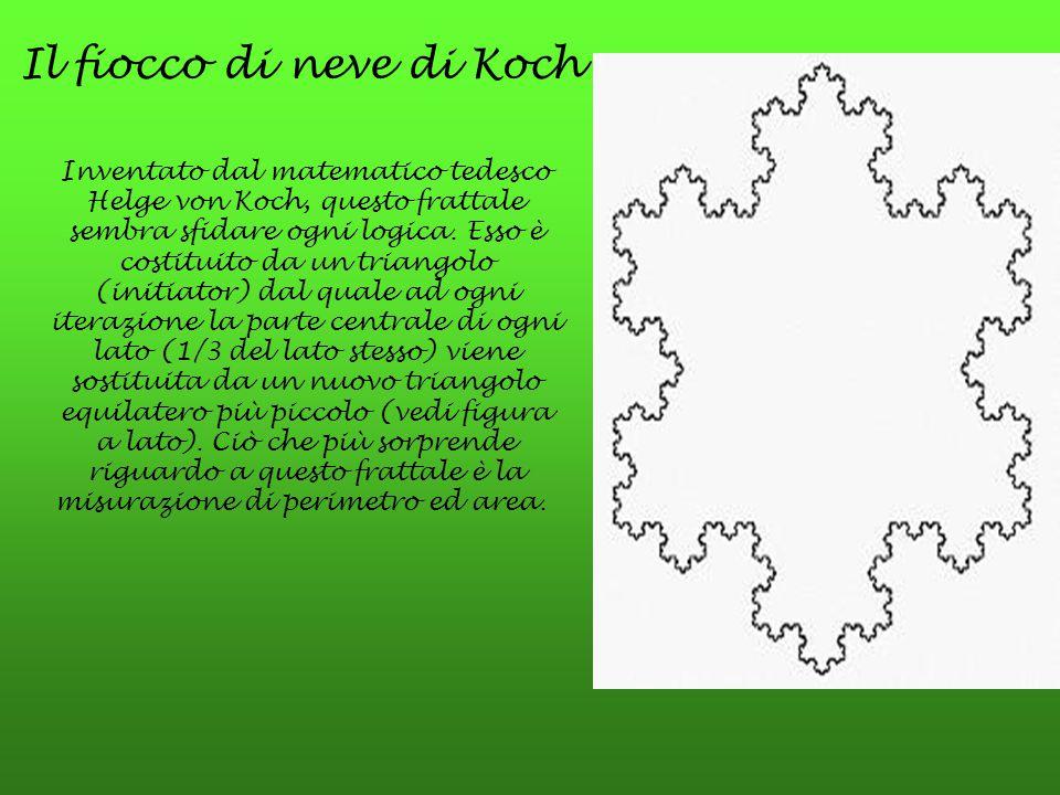 Il fiocco di neve di Koch Inventato dal matematico tedesco Helge von Koch, questo frattale sembra sfidare ogni logica. Esso è costituito da un triango