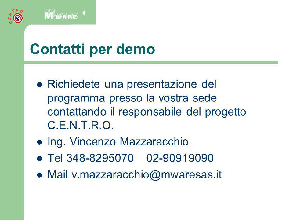 Contatti per demo Richiedete una presentazione del programma presso la vostra sede contattando il responsabile del progetto C.E.N.T.R.O.