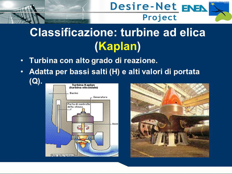 Classificazione: turbine ad elica (Kaplan) Turbina con alto grado di reazione. Adatta per bassi salti (H) e alti valori di portata (Q).