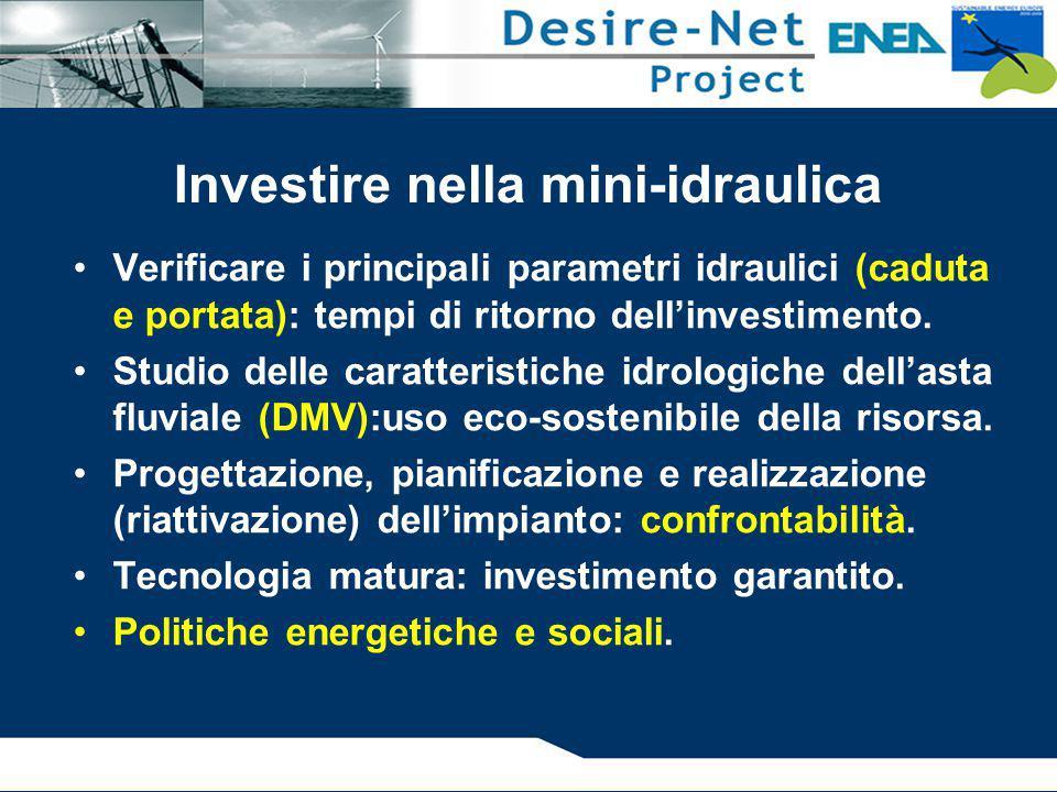 Verificare i principali parametri idraulici (caduta e portata): tempi di ritorno dell'investimento. Studio delle caratteristiche idrologiche dell'asta