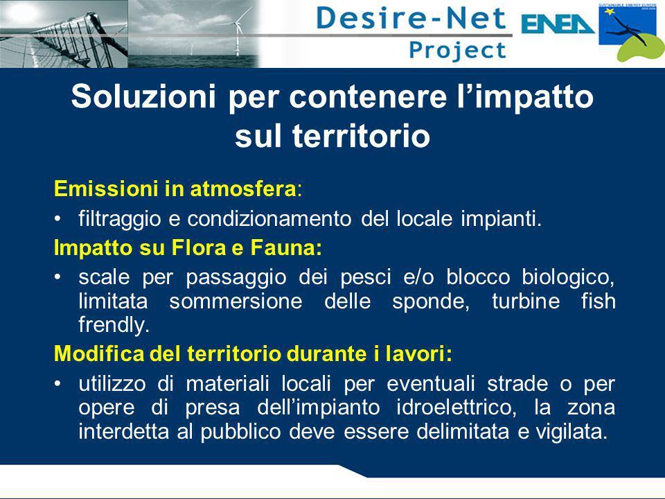 Emissioni in atmosfera: filtraggio e condizionamento del locale impianti. Impatto su Flora e Fauna: scale per passaggio dei pesci e/o blocco biologico