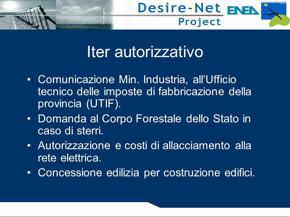 Iter autorizzativo Comunicazione Min. Industria, all'Ufficio tecnico delle imposte di fabbricazione della provincia (UTIF). Domanda al Corpo Forestale