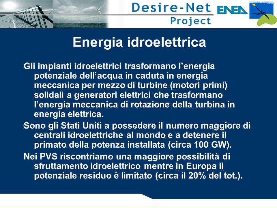 Energia idroelettrica Gli impianti idroelettrici trasformano l'energia potenziale dell'acqua in caduta in energia meccanica per mezzo di turbine (moto