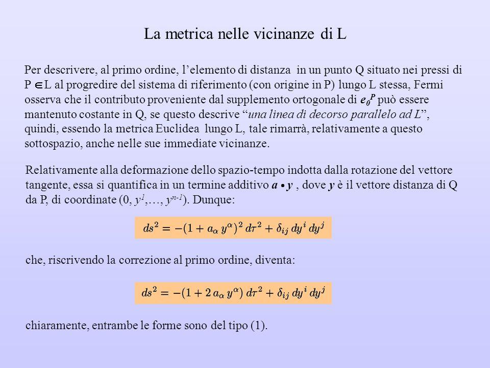 Cenni sulla costruzione analitica in V 4 Va stabilito il modo in cui la perpendicolarità di un vettore v al versore tangente u di una curva L si rifle