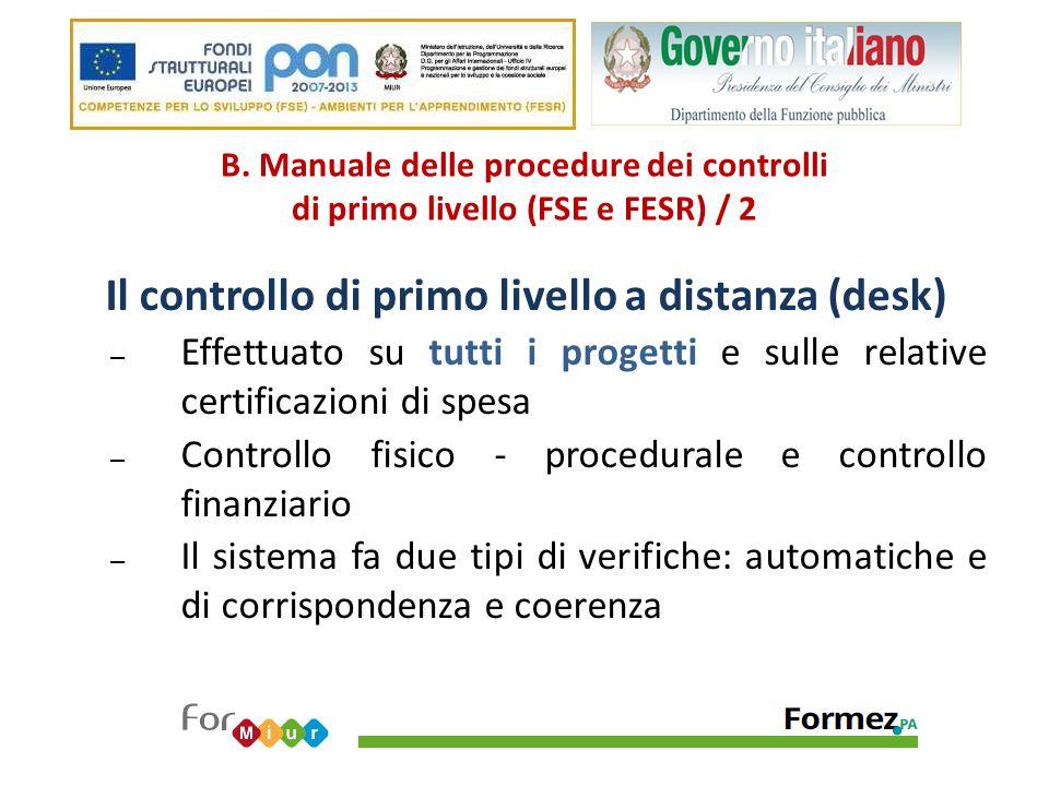 B. Manuale delle procedure dei controlli di primo livello (FSE e FESR) / 2 Il controllo di primo livello a distanza (desk) – Effettuato su tutti i pro