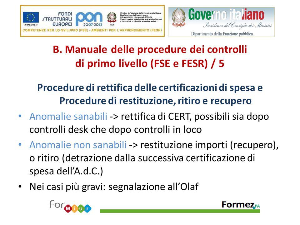 B. Manuale delle procedure dei controlli di primo livello (FSE e FESR) / 5 Procedure di rettifica delle certificazioni di spesa e Procedure di restitu
