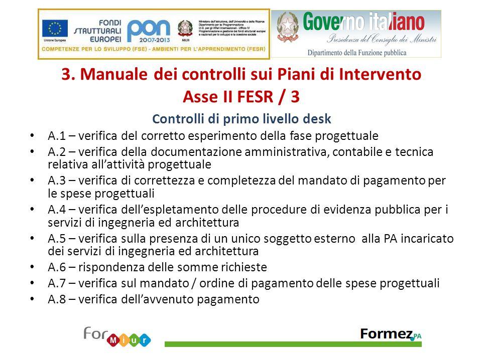 3. Manuale dei controlli sui Piani di Intervento Asse II FESR / 3 Controlli di primo livello desk A.1 – verifica del corretto esperimento della fase p