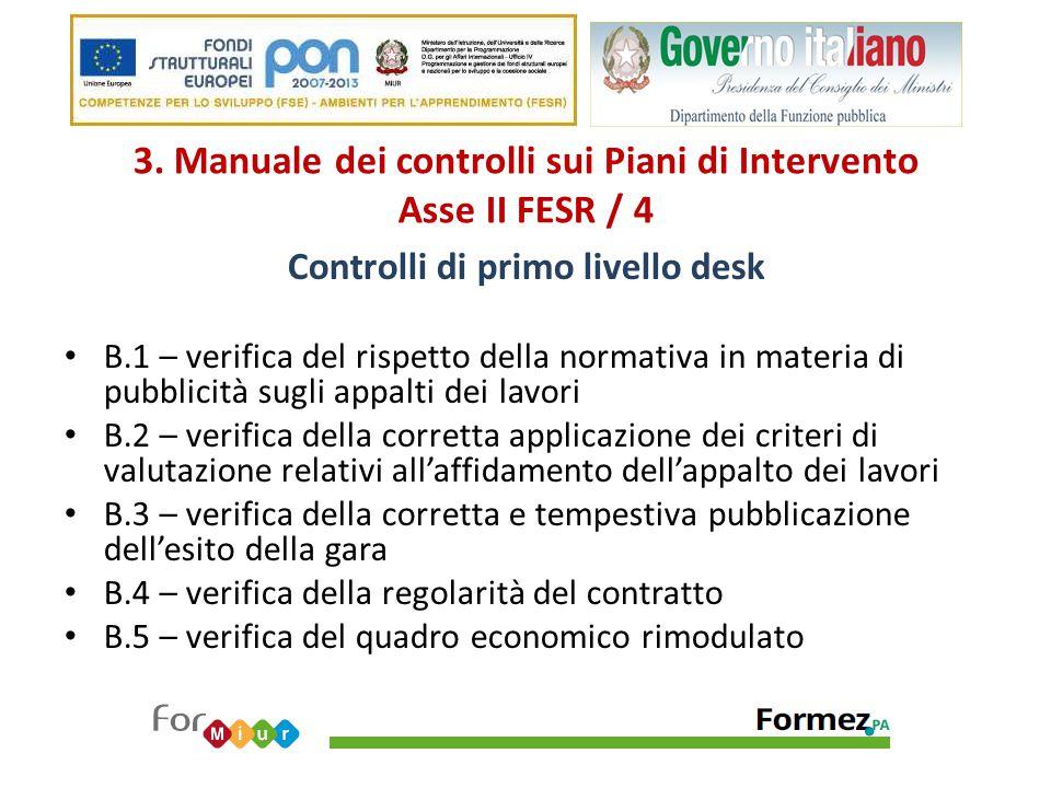 3. Manuale dei controlli sui Piani di Intervento Asse II FESR / 4 Controlli di primo livello desk B.1 – verifica del rispetto della normativa in mater