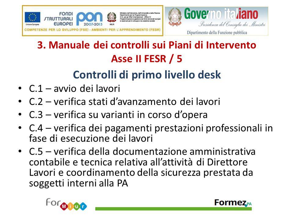 3. Manuale dei controlli sui Piani di Intervento Asse II FESR / 5 Controlli di primo livello desk C.1 – avvio dei lavori C.2 – verifica stati d'avanza