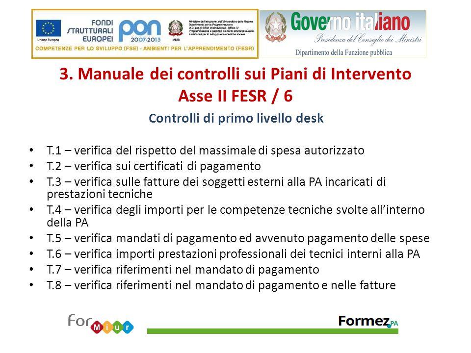 3. Manuale dei controlli sui Piani di Intervento Asse II FESR / 6 Controlli di primo livello desk T.1 – verifica del rispetto del massimale di spesa a