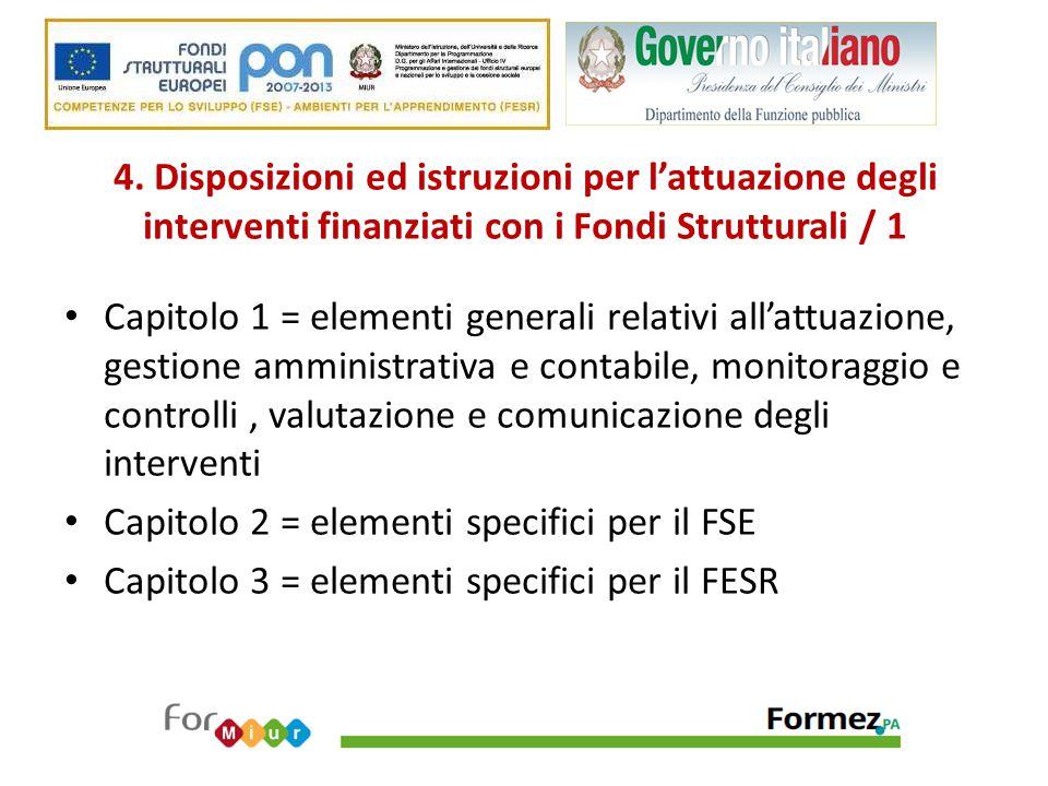 4. Disposizioni ed istruzioni per l'attuazione degli interventi finanziati con i Fondi Strutturali / 1 Capitolo 1 = elementi generali relativi all'att