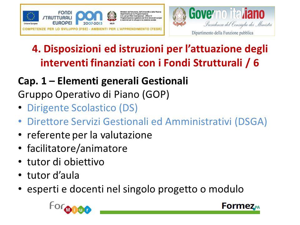 4. Disposizioni ed istruzioni per l'attuazione degli interventi finanziati con i Fondi Strutturali / 6 Cap. 1 – Elementi generali Gestionali Gruppo Op