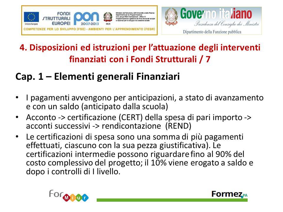 4. Disposizioni ed istruzioni per l'attuazione degli interventi finanziati con i Fondi Strutturali / 7 Cap. 1 – Elementi generali Finanziari I pagamen