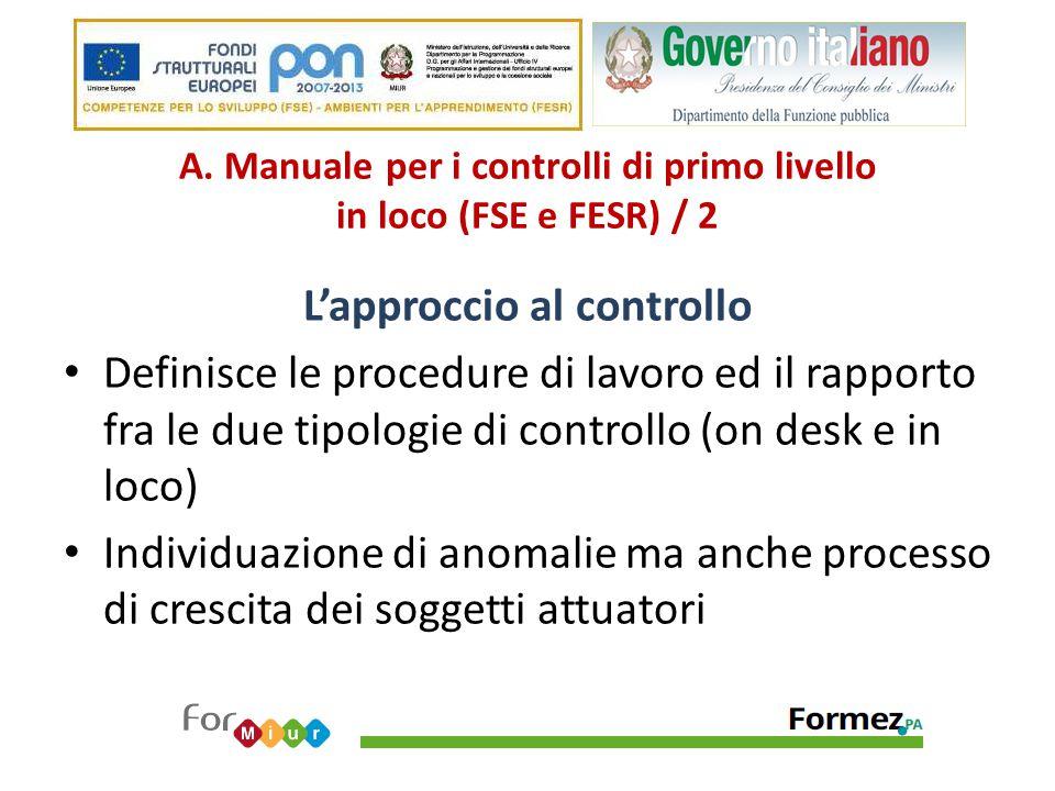 A. Manuale per i controlli di primo livello in loco (FSE e FESR) / 2 L'approccio al controllo Definisce le procedure di lavoro ed il rapporto fra le d