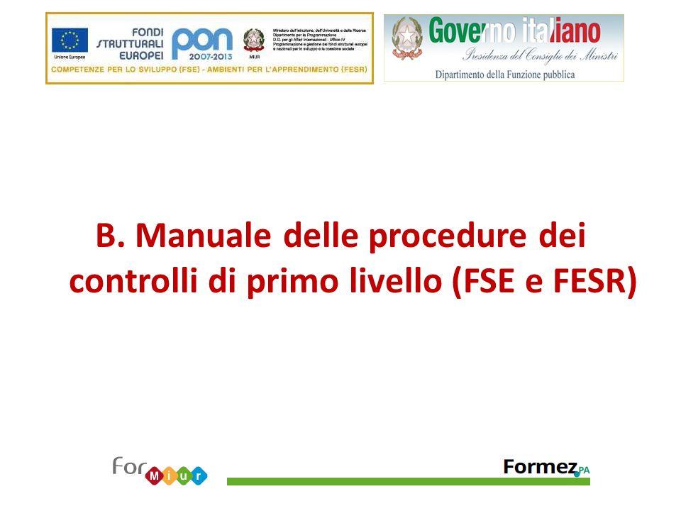 B. Manuale delle procedure dei controlli di primo livello (FSE e FESR)