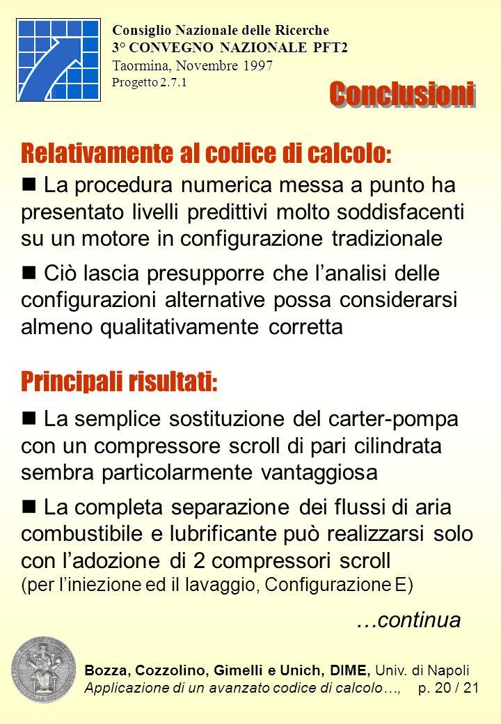 Bozza, Cozzolino, Gimelli e Unich, DIME, Univ. di Napoli Applicazione di un avanzato codice di calcolo…,p. 20 / 21 Consiglio Nazionale delle Ricerche