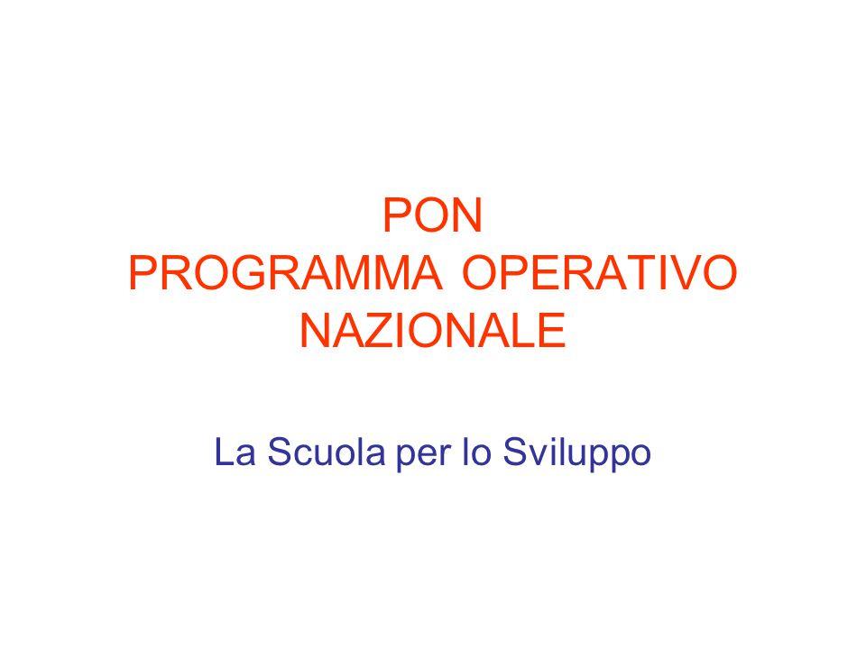 PON PROGRAMMA OPERATIVO NAZIONALE La Scuola per lo Sviluppo