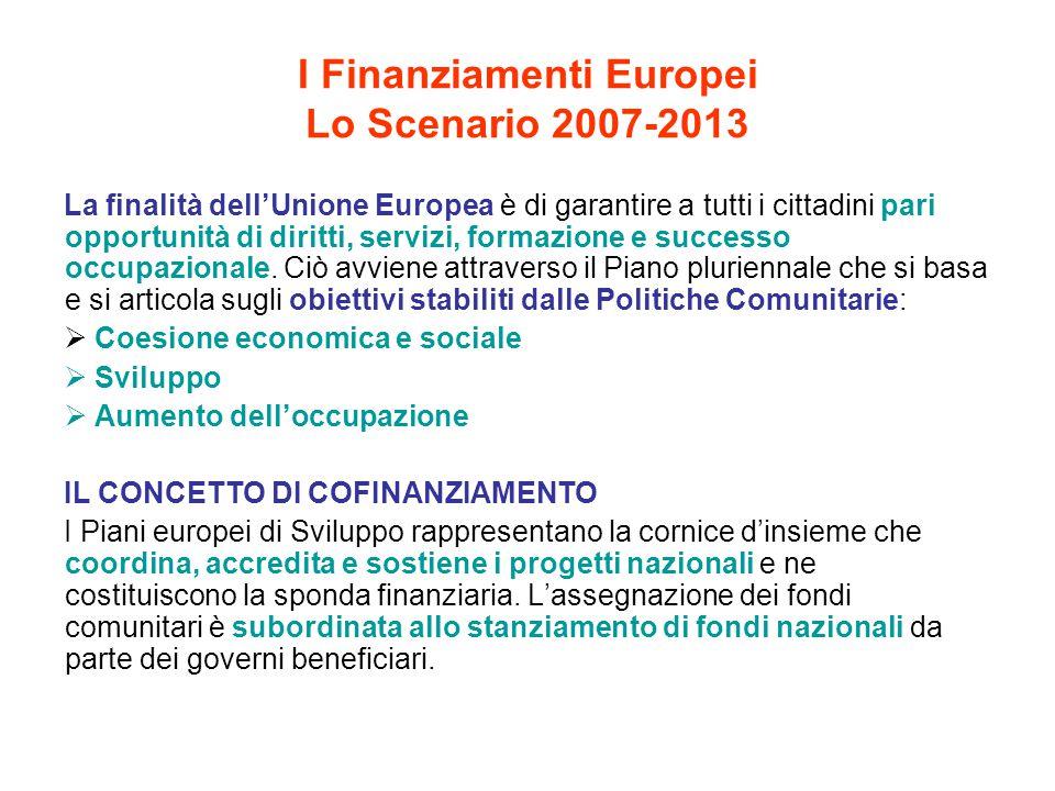I Finanziamenti Europei Lo Scenario 2007-2013 La finalità dell'Unione Europea è di garantire a tutti i cittadini pari opportunità di diritti, servizi,