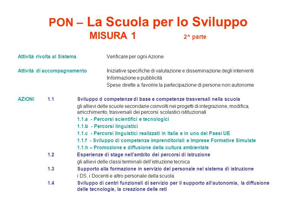 PON – La Scuola per lo Sviluppo MISURA 1 2^ parte Attività rivolta al Sistema Verificare per ogni Azione Attività di accompagnamento Iniziative specif