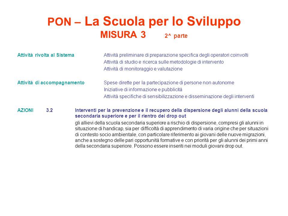 PON – La Scuola per lo Sviluppo MISURA 3 2^ parte Attività rivolta al Sistema Attività preliminare di preparazione specifica degli operatori coinvolti