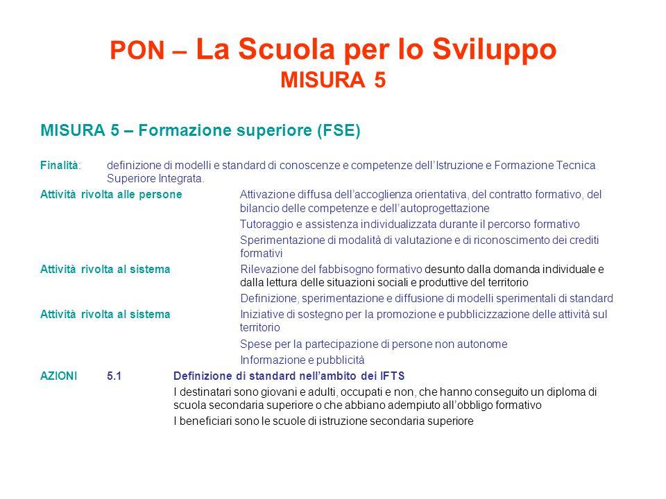 PON – La Scuola per lo Sviluppo MISURA 5 MISURA 5 – Formazione superiore (FSE) Finalità: definizione di modelli e standard di conoscenze e competenze