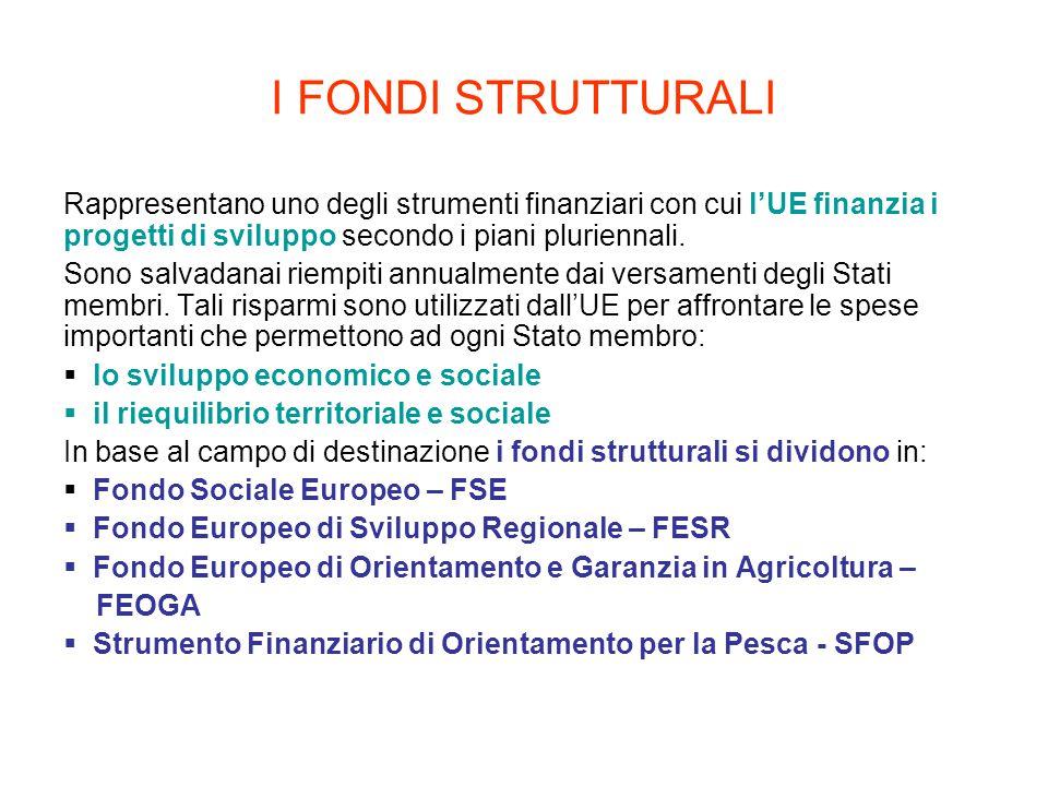 I FONDI STRUTTURALI Rappresentano uno degli strumenti finanziari con cui l'UE finanzia i progetti di sviluppo secondo i piani pluriennali. Sono salvad