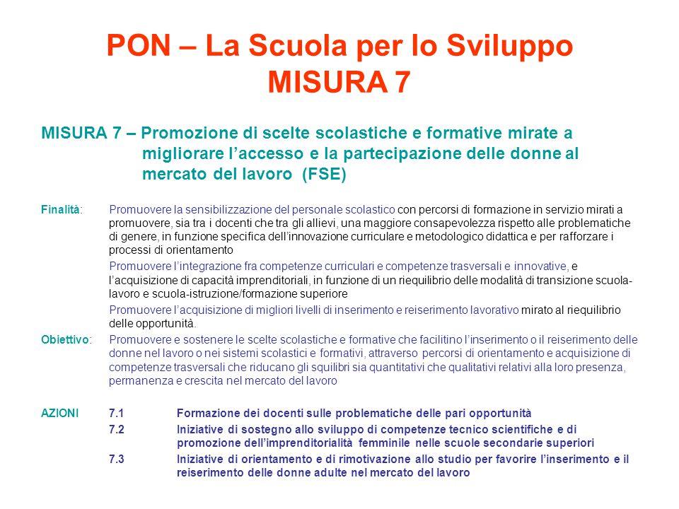 PON – La Scuola per lo Sviluppo MISURA 7 MISURA 7 – Promozione di scelte scolastiche e formative mirate a migliorare l'accesso e la partecipazione del