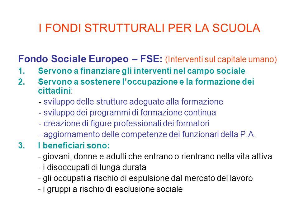I FONDI STRUTTURALI PER LA SCUOLA Fondo Sociale Europeo – FSE: (Interventi sul capitale umano) 1.Servono a finanziare gli interventi nel campo sociale