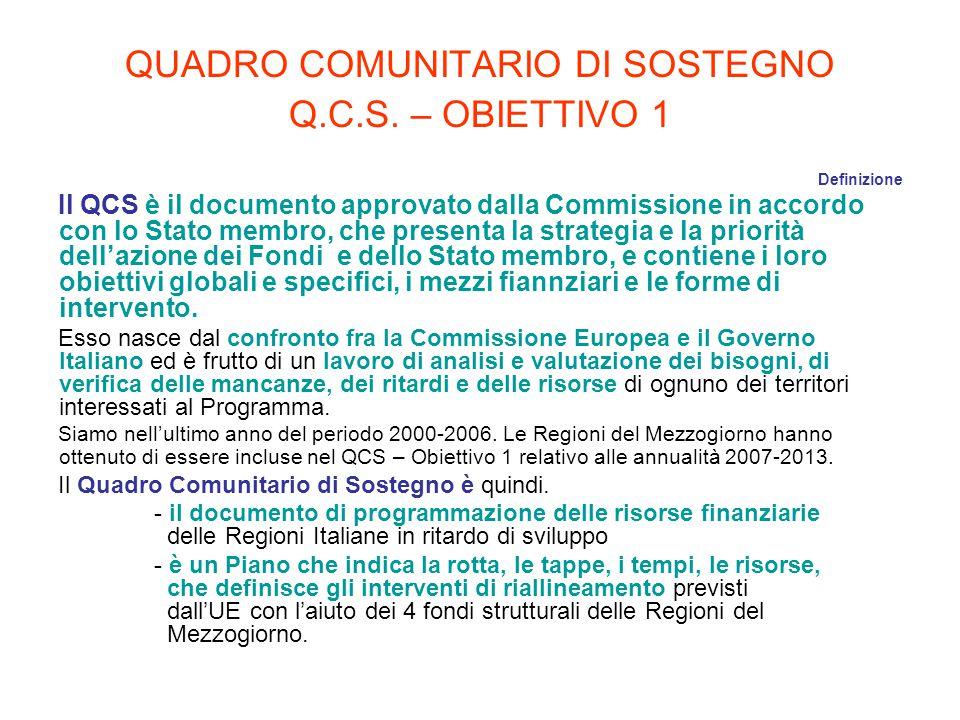 QUADRO COMUNITARIO DI SOSTEGNO Q.C.S. – OBIETTIVO 1 Definizione Il QCS è il documento approvato dalla Commissione in accordo con lo Stato membro, che