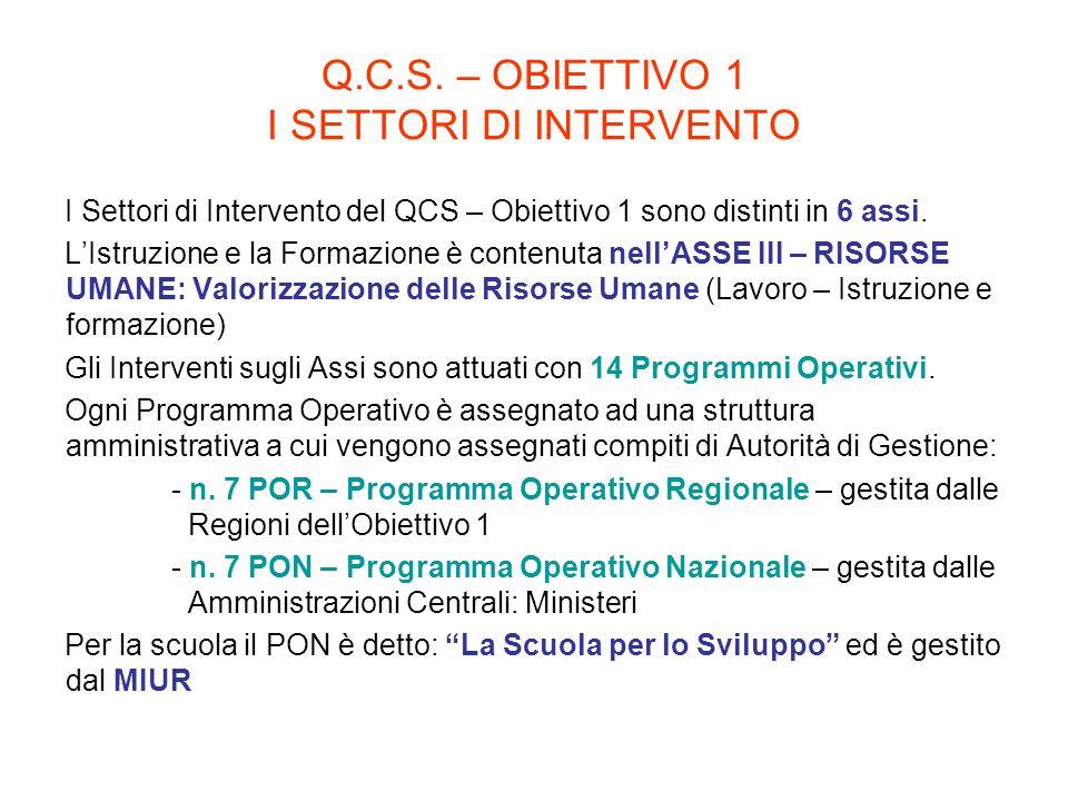 Q.C.S. – OBIETTIVO 1 I SETTORI DI INTERVENTO I Settori di Intervento del QCS – Obiettivo 1 sono distinti in 6 assi. L'Istruzione e la Formazione è con