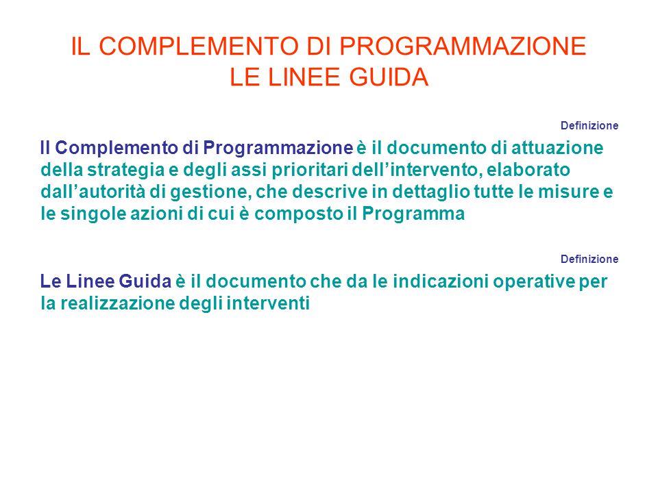 IL COMPLEMENTO DI PROGRAMMAZIONE LE LINEE GUIDA Definizione Il Complemento di Programmazione è il documento di attuazione della strategia e degli assi