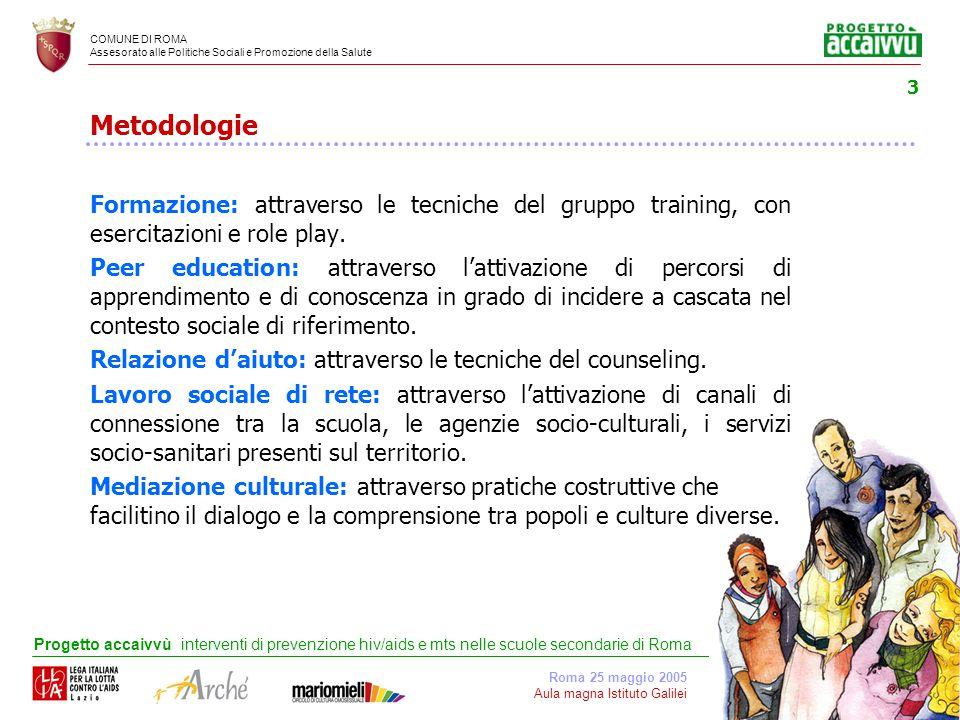 COMUNE DI ROMA Assesorato alle Politiche Sociali e Promozione della Salute Roma 25 maggio 2005 Aula magna Istituto Galilei Progetto accaivvù interventi di prevenzione hiv/aids e mts nelle scuole secondarie di Roma 14 Quali comportamenti sono a rischio.